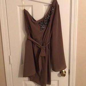 One shoulder mocha colored dress